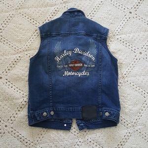 {Harley Davidson} Denim vest with logo